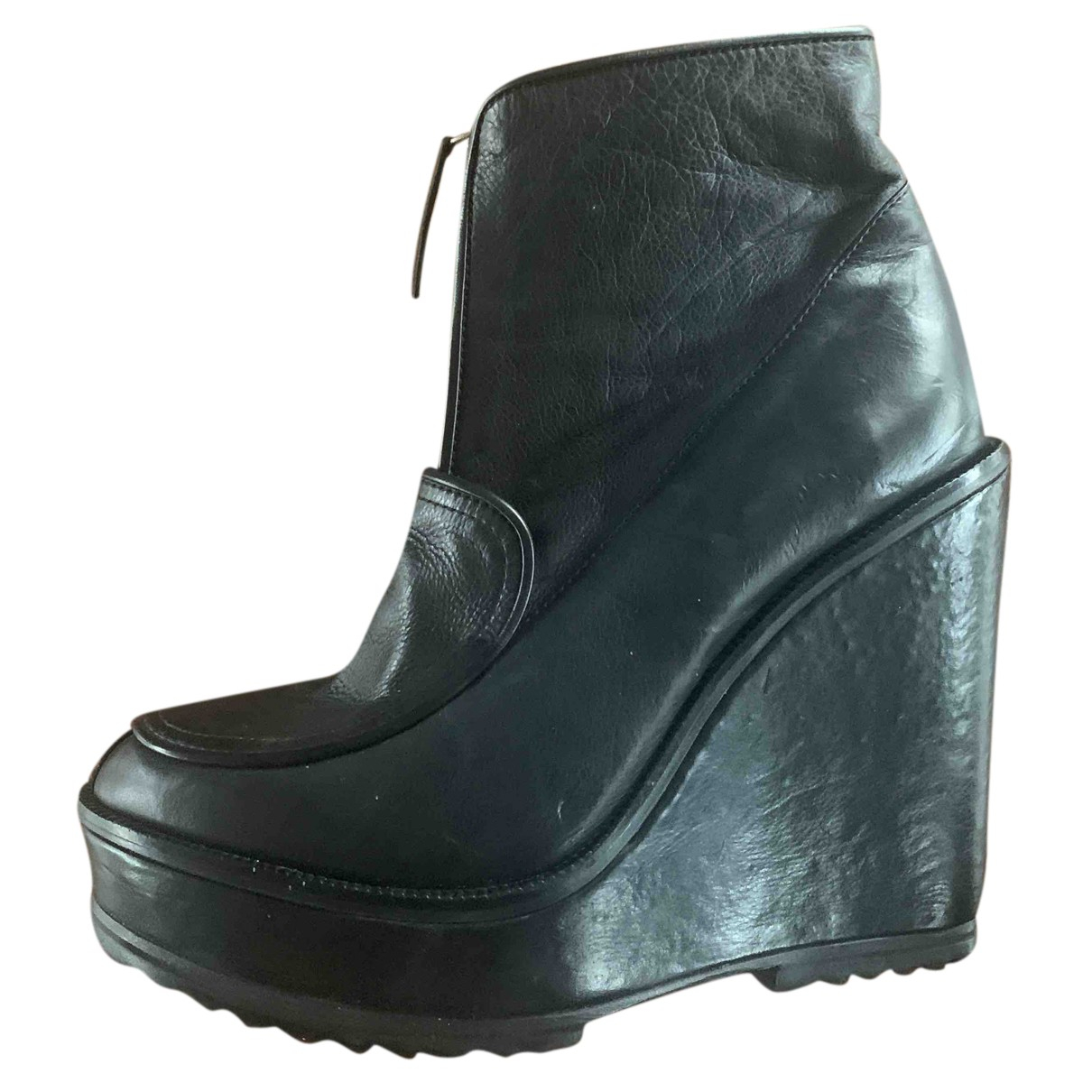 Lacoste N Black Leather Boots for Women 40 IT