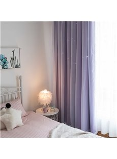Romantic Purple Hollowed-out Star and White Sheer Sewing Together Blackout Curtains