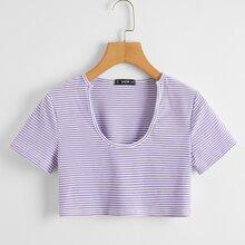 Striped Print Rib-knit Crop Tee