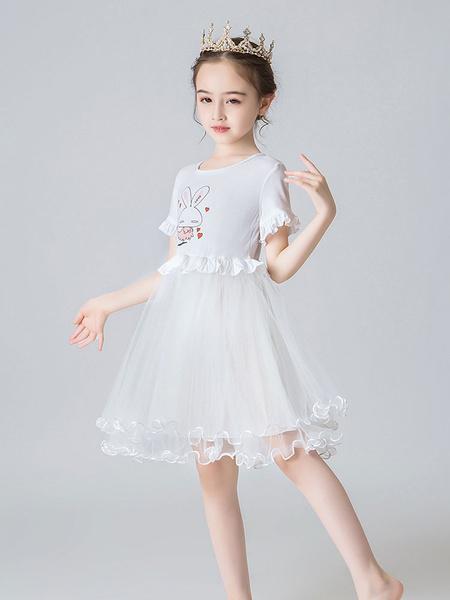 Milanoo Flower Girl Dresses Jewel Neck Short Sleeves Kids Social Party Dresses