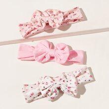 3 Stuecke Baby Blumenmuster Schleife Dekor Stirnband