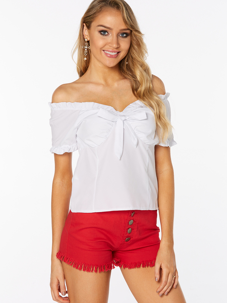 Yoins White Lace-up Design Plain Off The Shoulder Short Sleeves Blouses