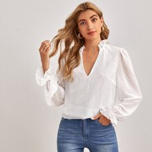 Frill Detail Swiss Dot Top