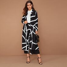 Graphic Print Button Up Shirt & Wide Leg Pants Set