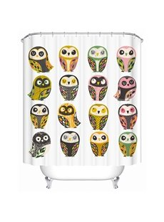 Various Cute Owls Print 3D Bathroom Shower Curtain