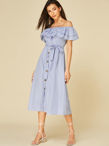 Yoins Blue Button Design Stripe Off The Shoulder Short Sleeves Dress