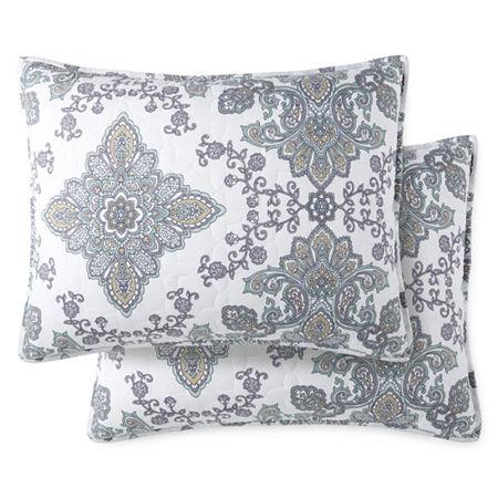 JCPenney Home Vine Medallion Reversible Pillow Sham, One Size , White