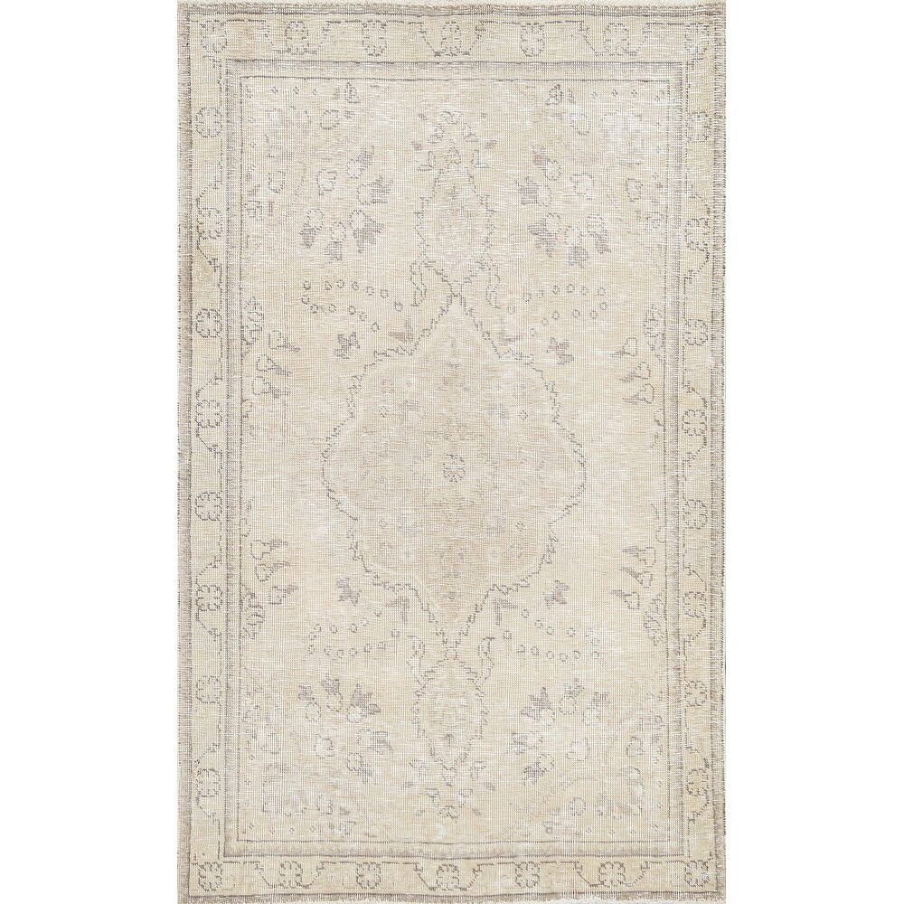 Muted Floral Tabriz Persian Area Rug Wool Hand-knotted Carpet - 3'2