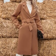O-ring Belted Lapel Collar Overcoat