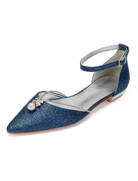 Milanoo Zapatos de novia Tela-brillante 1.5cm Zapatos de Fiesta Color champaña Plana Zapatos de boda de puntera puntiaguada