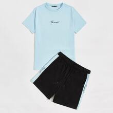 Men Letter Graphic Tee and Contrast Sideseam Track Shorts Set