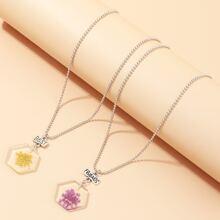 2pcs Girls Geometric Flower Charm Necklace