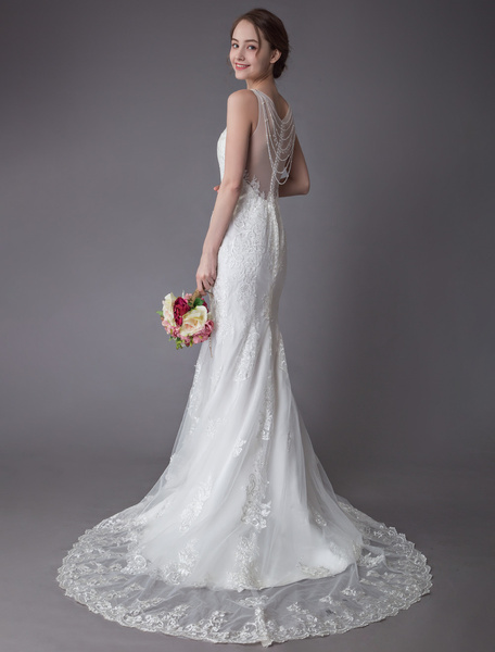 Milanoo Lace Wedding Dress Ivory Illusion Neckline Sleeveless Chain Beach Wedding Dress Mermaid Bridal Gowns With Train