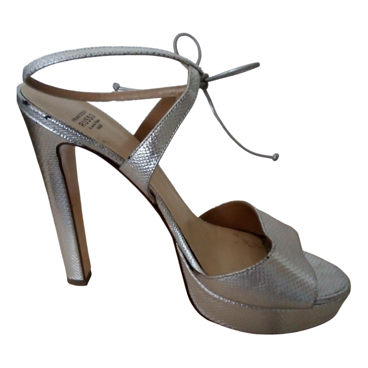 Francesco Russo \N Silver Leather Sandals for Women 40 EU