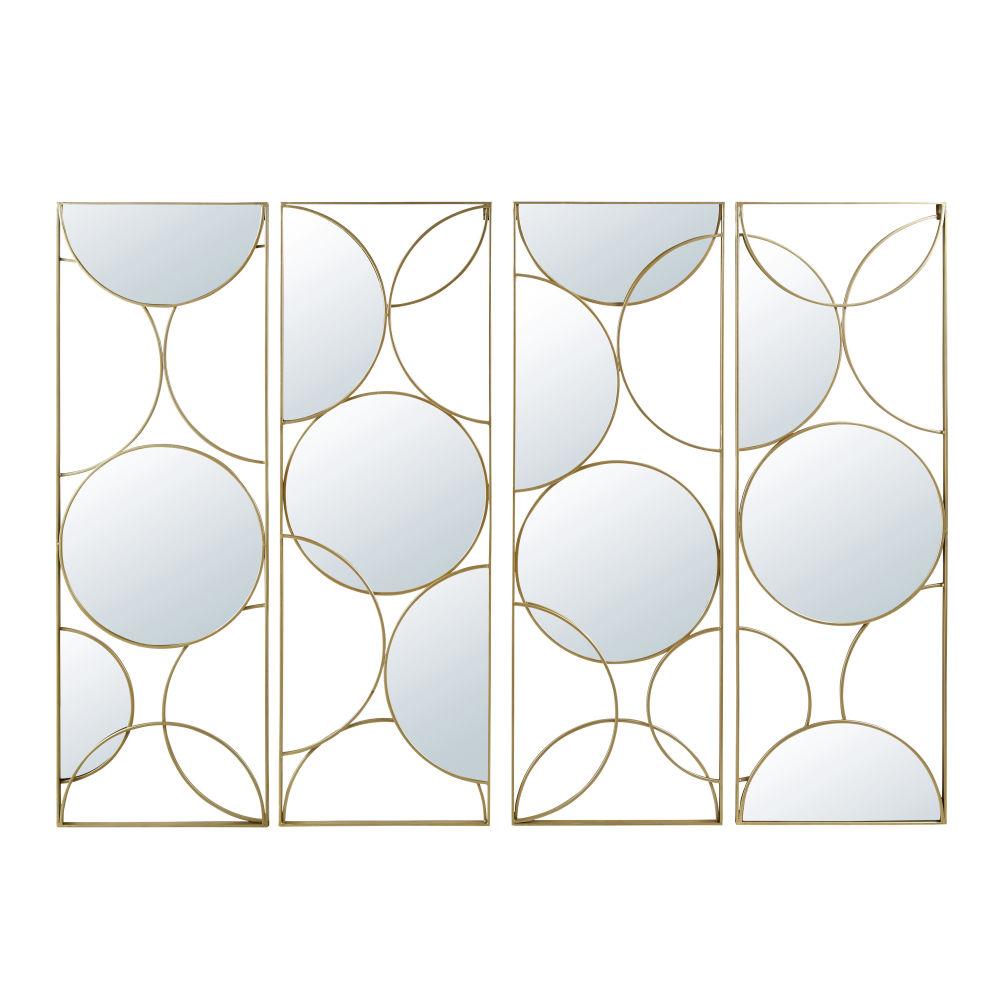 Viergeteilter Spiegel aus Metall, goldfarben 160x119