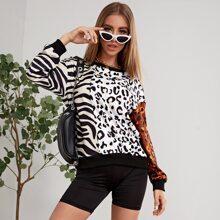 Sweatshirt mit Zebra Streifen & Leopard Muster
