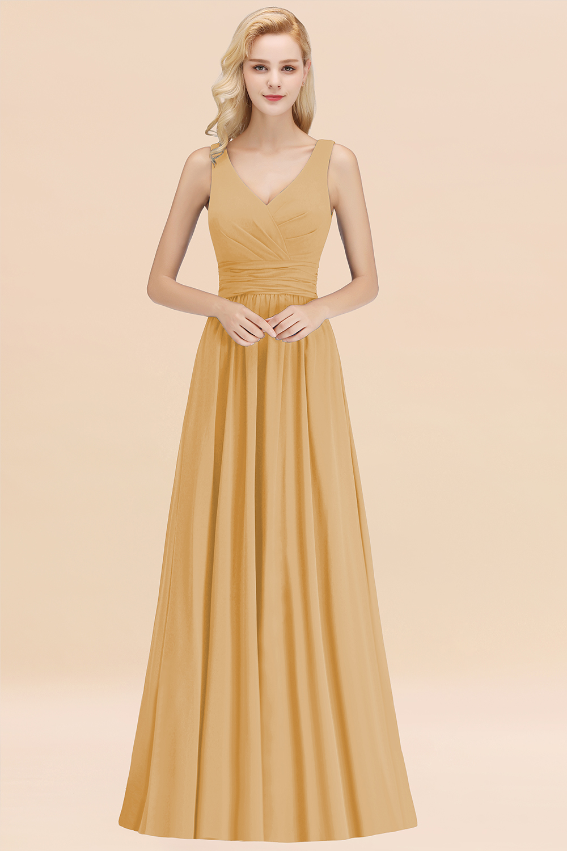 BMbridal Modest Sleeveless V-Neck Long Chiffon Bridesmaid Dress Online with Ruffle