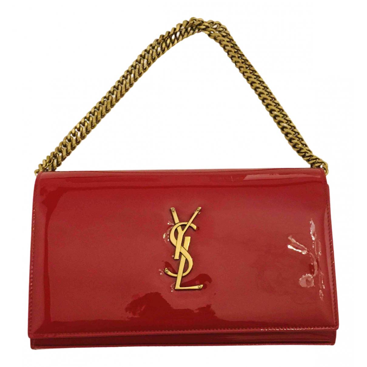 Saint Laurent - Pochette Kate monogramme pour femme en cuir verni - rouge