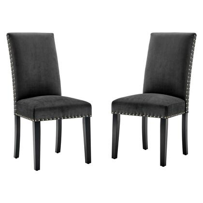 Parcel Collection EEI-3779-CHA Set of 2 Dining Side Chairs with Nailhead Trim Accents  Dense Foam Padding  Stained Rubberwood Legs and