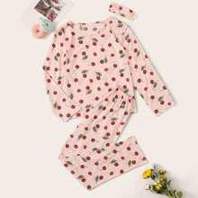 Schlafanzug Set mit Kirsche Muster und Augenmaske
