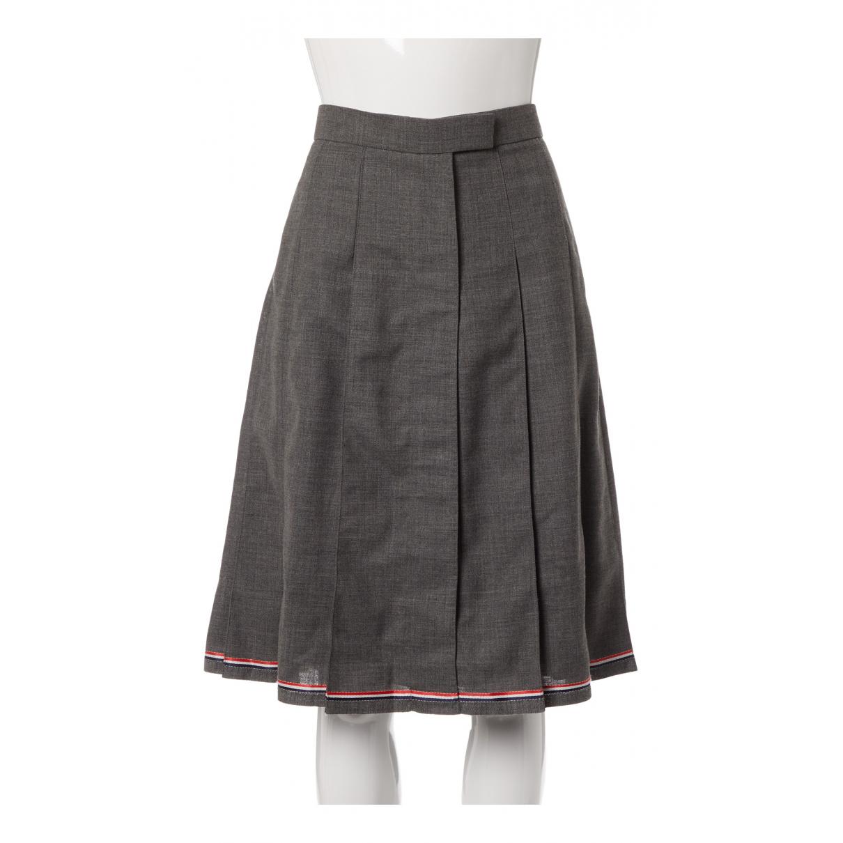 Thom Browne N Grey Wool skirt for Women 44 IT