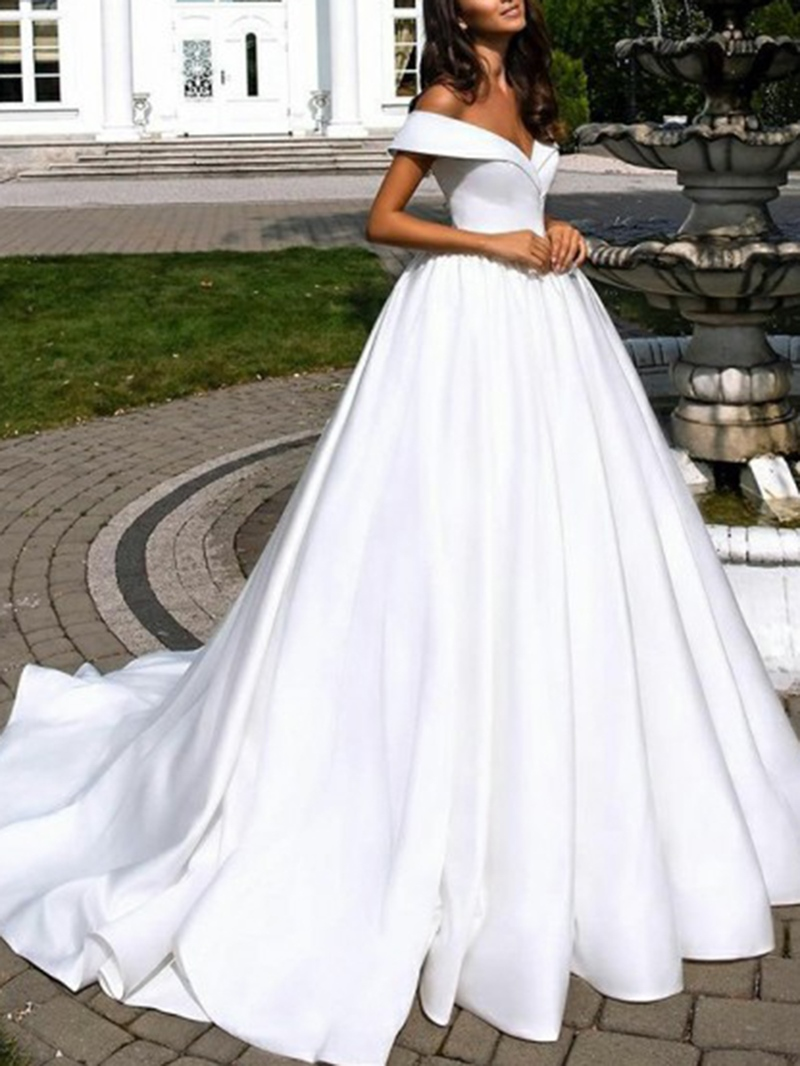 Ericdress Off-The-Shoulder Sleeveless Church Wedding Dress