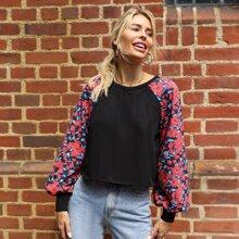 Pullover mit Blumen Muster, Raglanaermeln und Laternenaermeln
