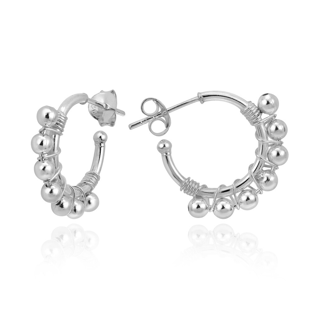 Handmade Stylish Sterling Silver Beads Woven on Hoops Post Stud Earrings  (Thailand) (White)