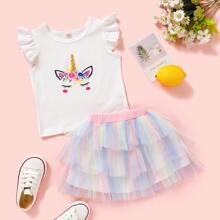Toddler Girls Cartoon & Floral Tee With Ombre Tutu Skirt