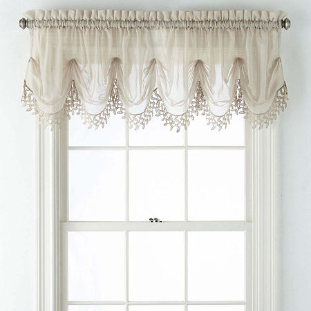 Home Expressions Lisette Sheer Macramé Tuck Valance, One Size , Beige