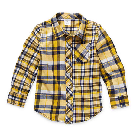Okie Dokie Toddler Boys Long Sleeve Button-Down Shirt, 2t , Yellow