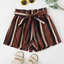 Striped Print Paper Bag Waist Belted Shorts