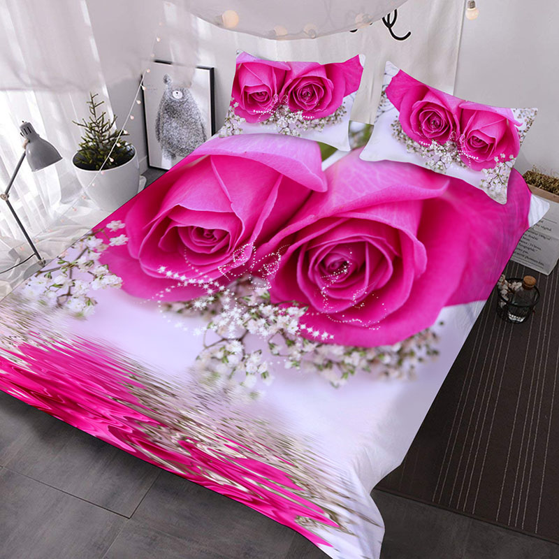 Pink Roses 3D Romantic Comforter 3-Piece Soft Comforter Sets with 2 Pillowcases