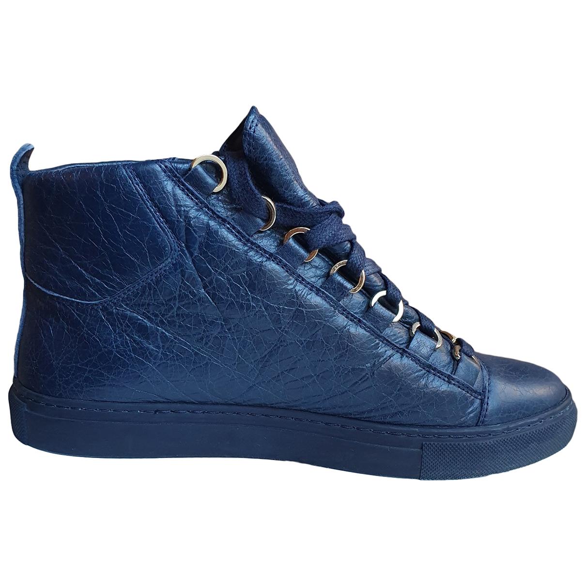 Balenciaga Arena Blue Leather Trainers for Women 38 EU