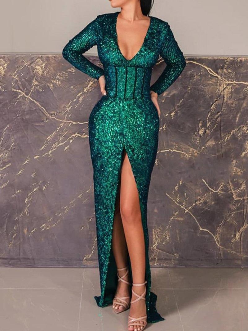 Ericdress Split V-Neck Floor-Length Plain Spring Dress