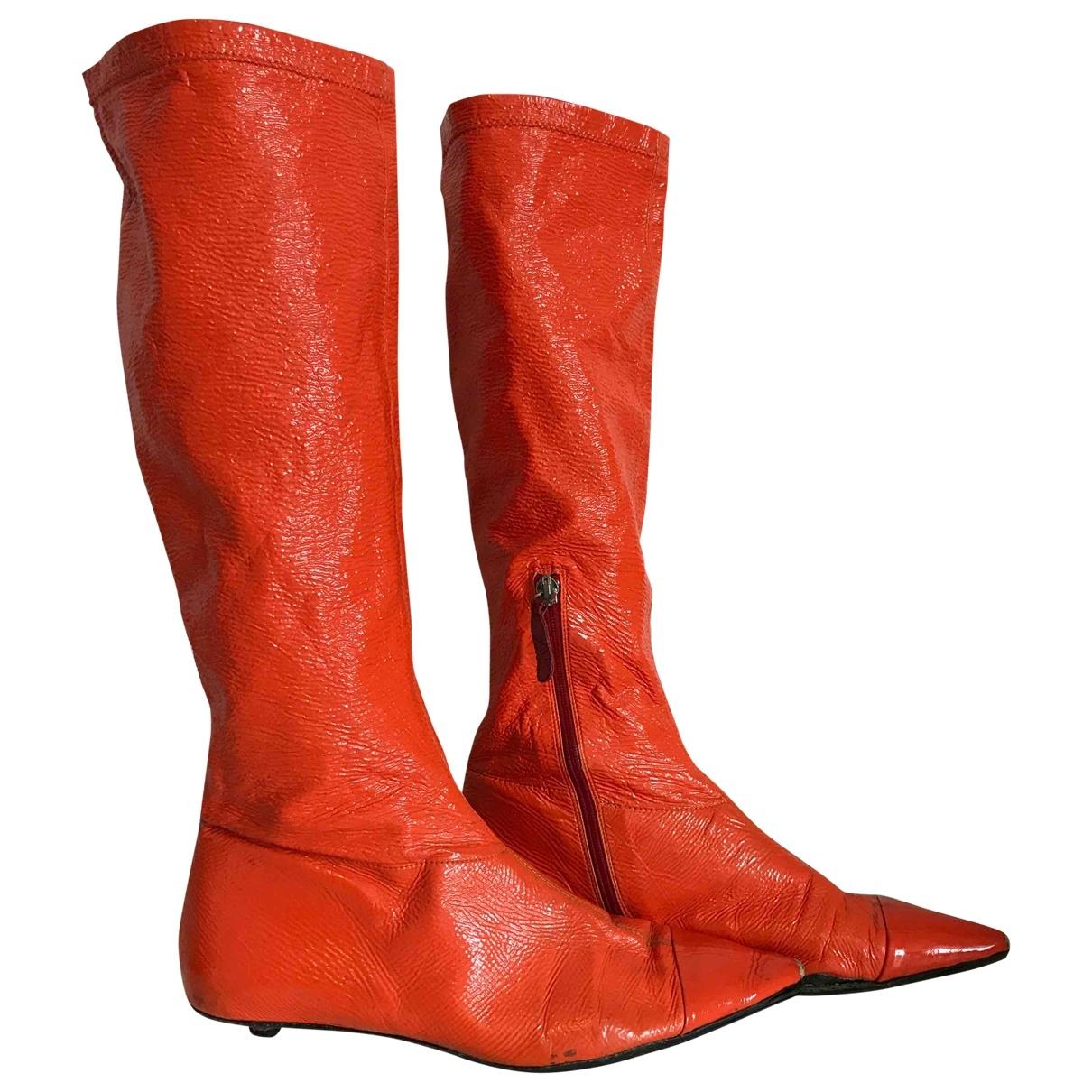 Paul Smith - Bottes   pour femme en cuir verni - orange