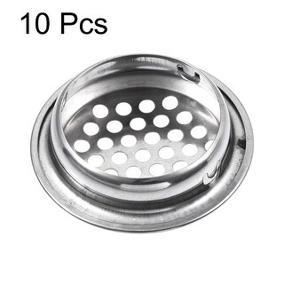 Air Vents, Fit 1.38 Dia, Soffit Circle Mesh Hole Louver, Silver Tone, 10Pcs (Silver)