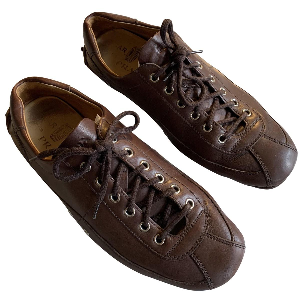 Prada \N Brown Leather Trainers for Men 7 UK