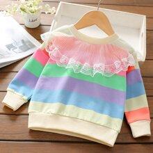Sweatshirt mit Kontrast Spitze und Streifen