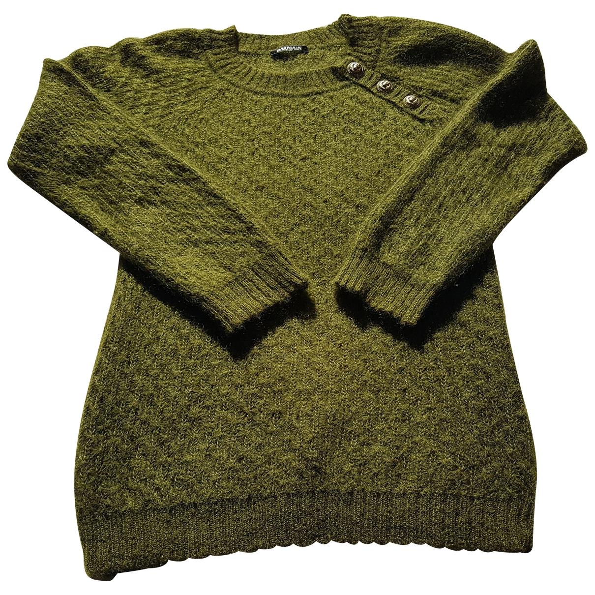 Balmain - Pull   pour femme en laine - vert