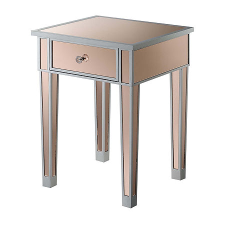 1-Drawer End Table, One Size , Silver