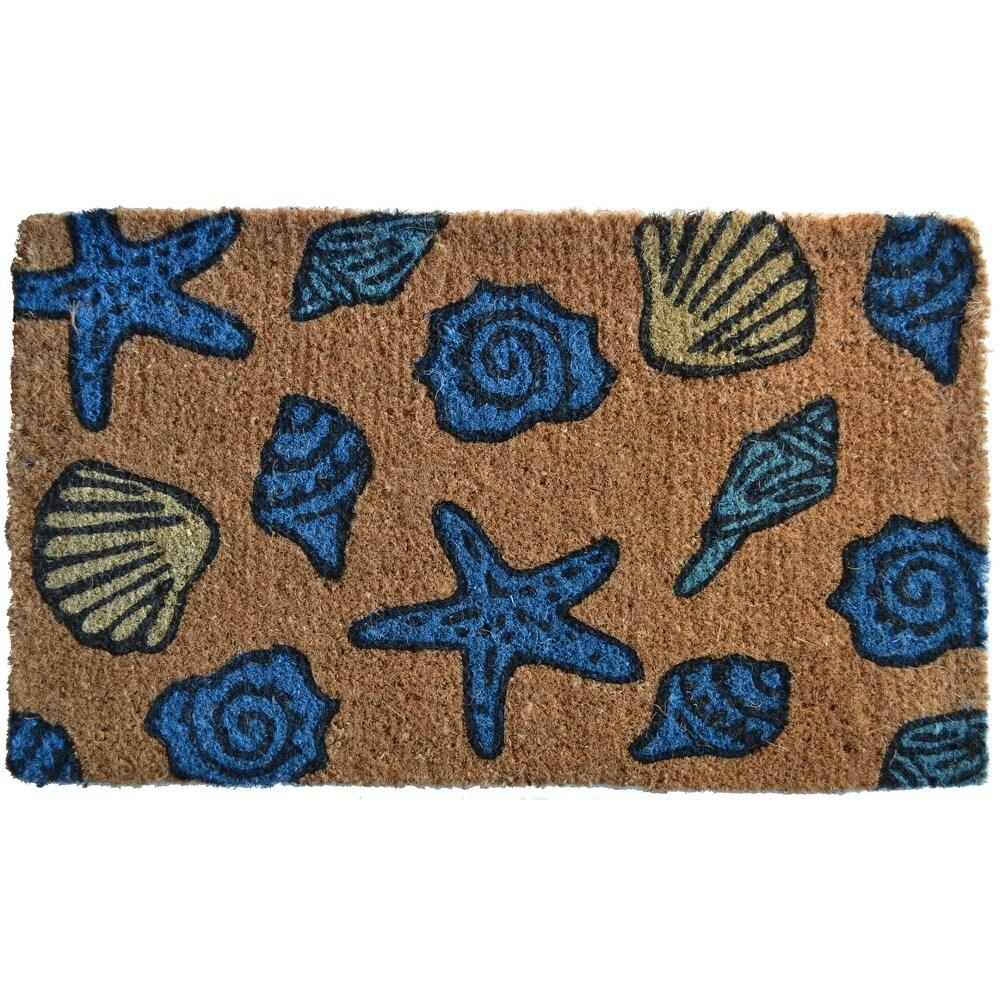 Handwoven Rectangular Coir Doormat with Sea Shells Design 30