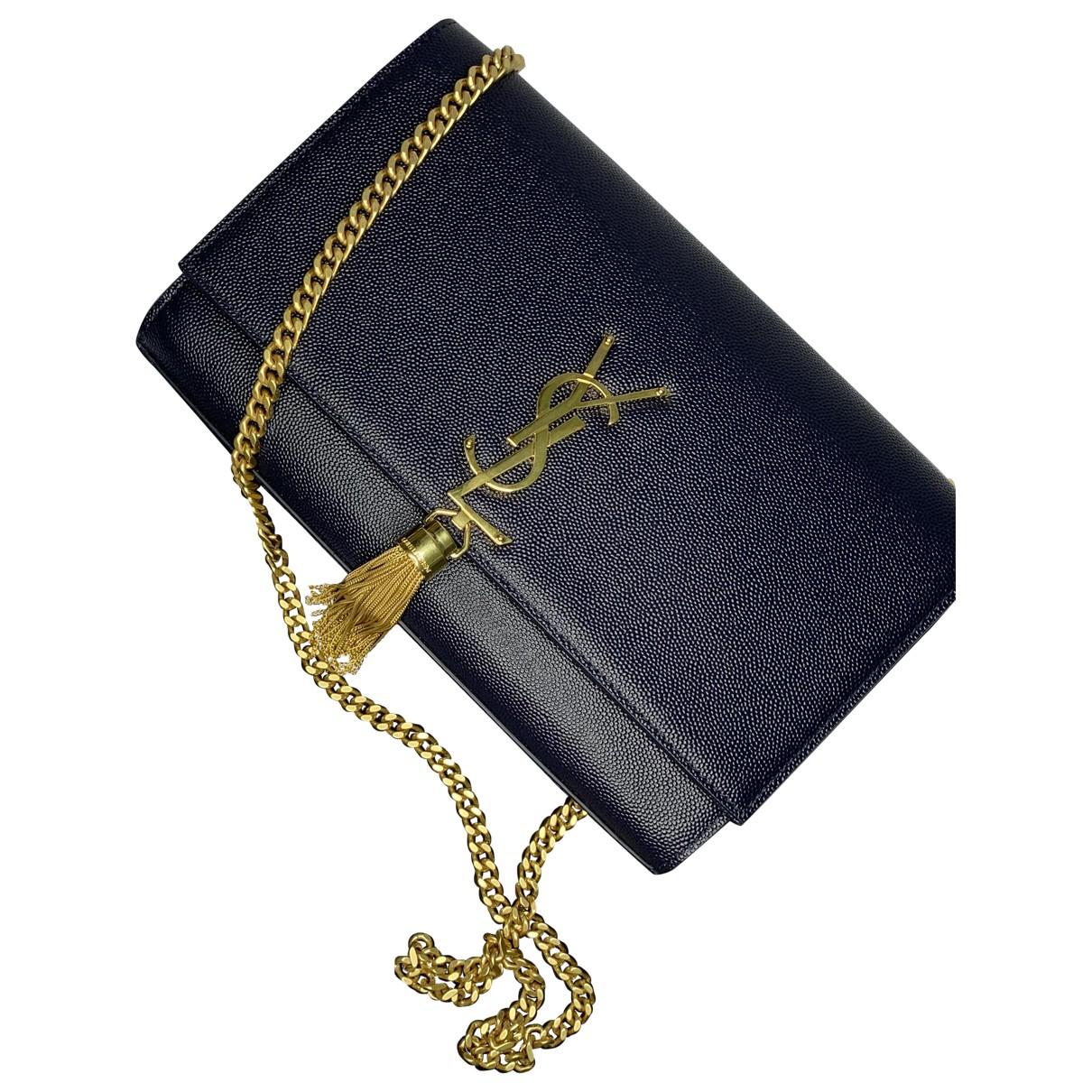 Saint Laurent Pompom Kate Blue Leather handbag for Women \N