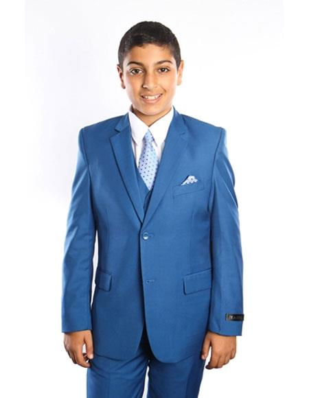Boy's Kids Toddler Color Children Suits Vested 2 Button Solid Blue