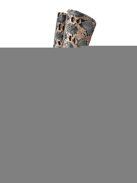 Milanoo Over The Knee Boots Python Round Toe Snake Print Winter Boots For Women