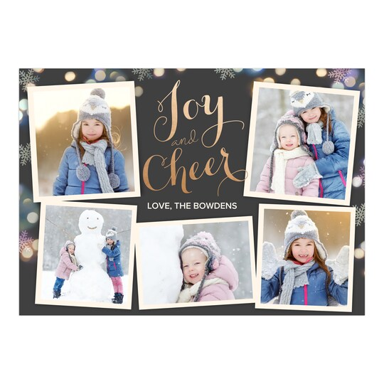 20 Pack of Gartner Studios® Personalized Glowing Snowflakes Holiday Foil Photo Card in Black | 5