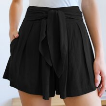Tied Wide Waistband Fold Pleated Front Shorts