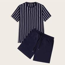 Men Striped Print Top & Drawstring Waist Shorts Set