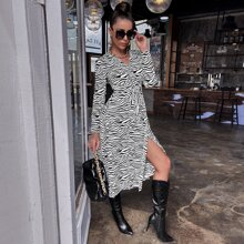 Surplice Front Split Thigh Zebra Striped Dress