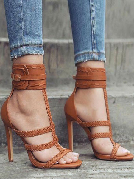Milanoo High Heel Sandals Women Gladiator Sandals Brown Open Toe Ankle Strap Sandal Shoes